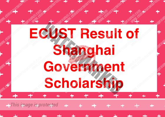 ECUST Result of Shanghai Government Scholarship
