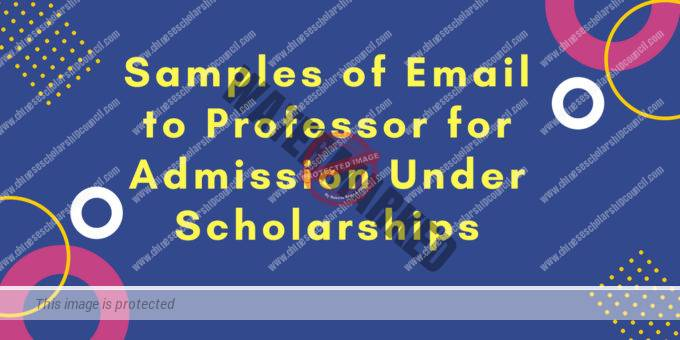 Samples of Email to Professor for Admission Under Scholarships